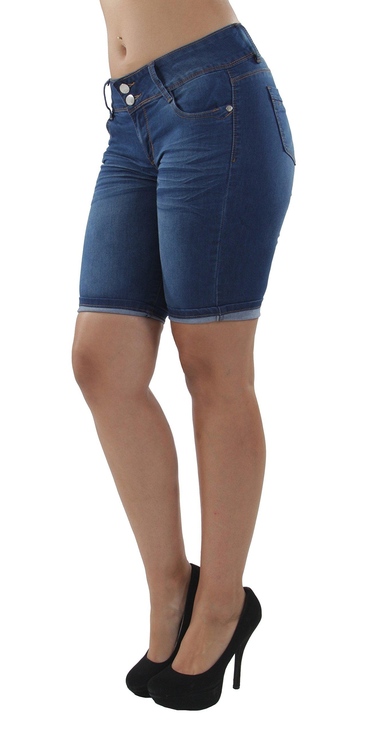 9Y128MB - Plus Size, Classic Premium Denim, Bermuda Shorts in M. Blue Size 18