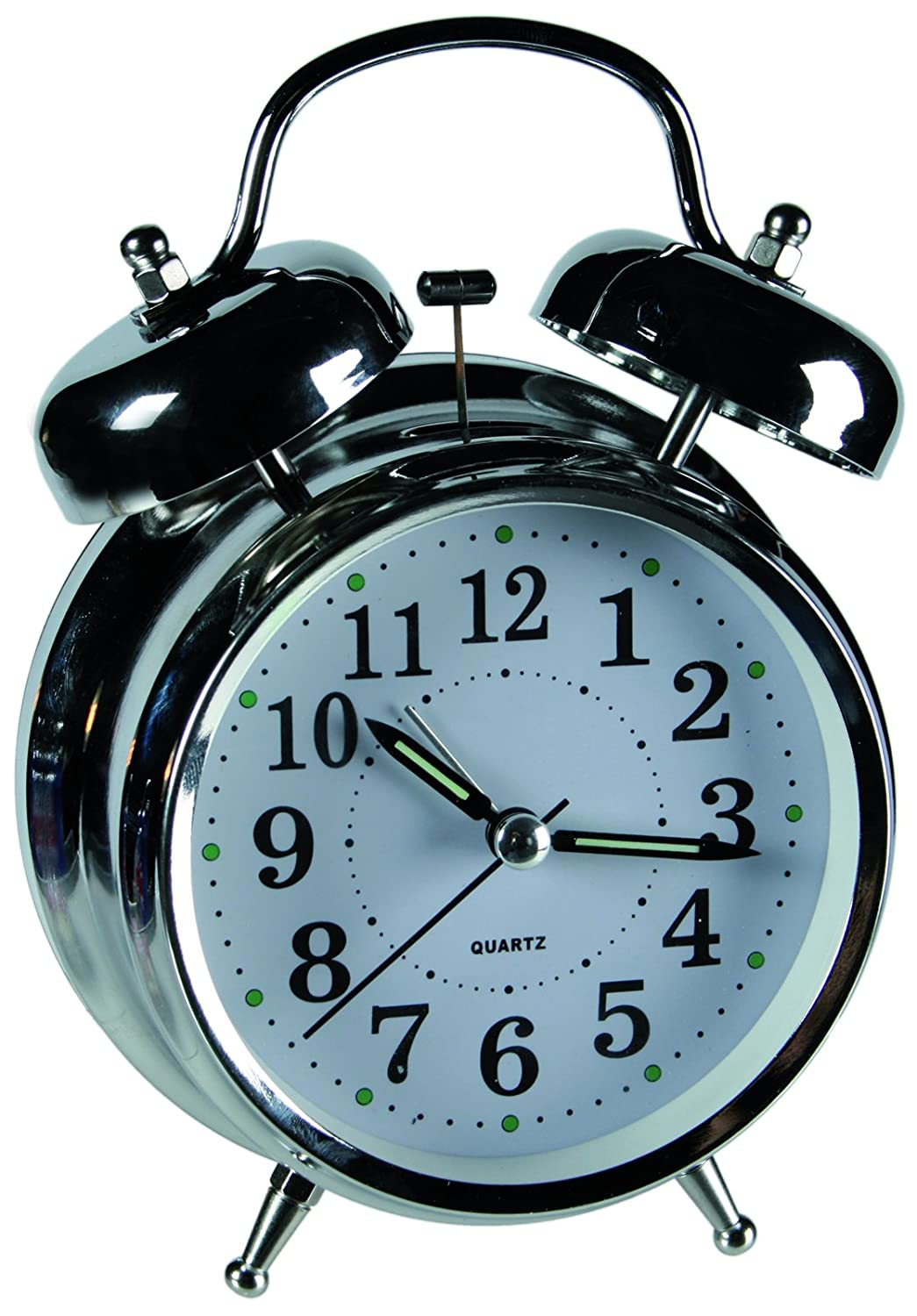 Out of the blue Glow in the Dark Alarm Clock, Metal, Chrome, 8.0 x 6.0 x 9.0 cm 79/3073