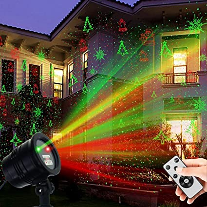 Christmas Laser Lights, Waterproof Projector Lights LED Landscape Spotlight  Red and Green Star Show with RF Wireless Remote Christmas Decorative for