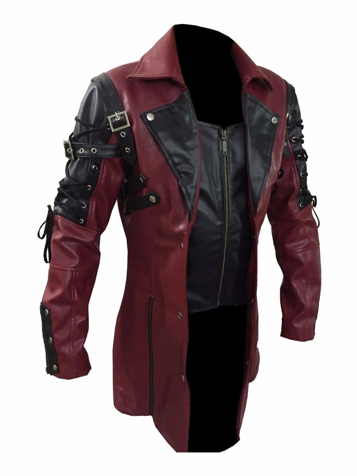 Steampunk Maroon & Black Renaissance Punk Faux Leather Victorian Gothic Coat 3