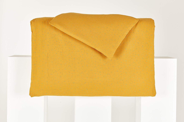 handgearbeitete Bettw/äsche gefertigt in der EU Bettbezug aus Baumwolle KraftKids Bettw/äsche-Set Musselin goldene Punkte auf Gelb aus Kopfkissen 40 x 60 cm und Bettdecke 135 x 100 cm