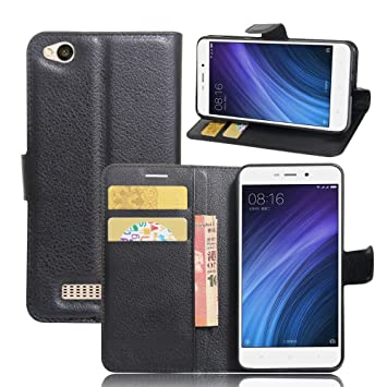 Xiaomi Redmi 4A Funda de PU Cuero Leather con Ranuras para Tarjetas y Billetes Carcasa de Excelente Resistencia y Parachoque. Cubierta Enrrollada ...
