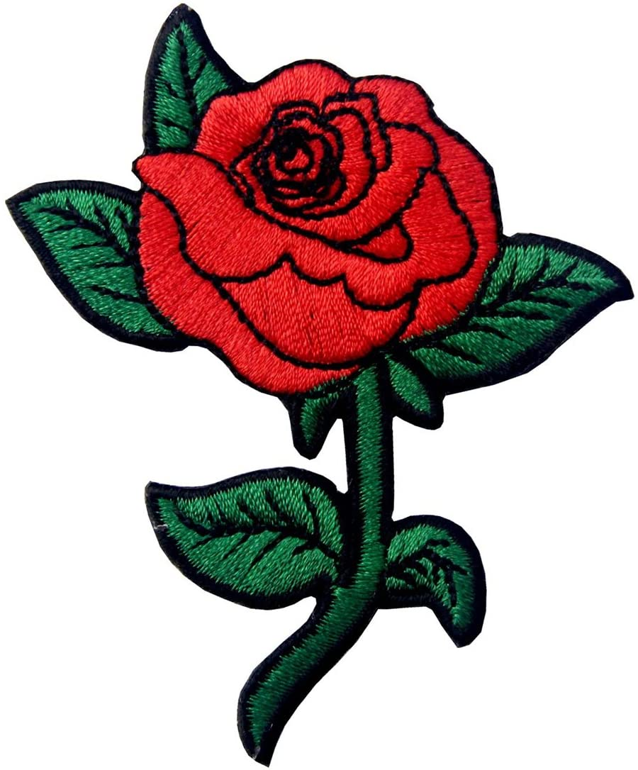 Patches for jackets Red rose patch Rose iron on patch Floral patches for backpacks