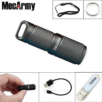 MecArmy X4S - Llavero linterna LED EDC tamaño mini, batería recargable por USB de ion de litio de 10180, con luces USB Thenines