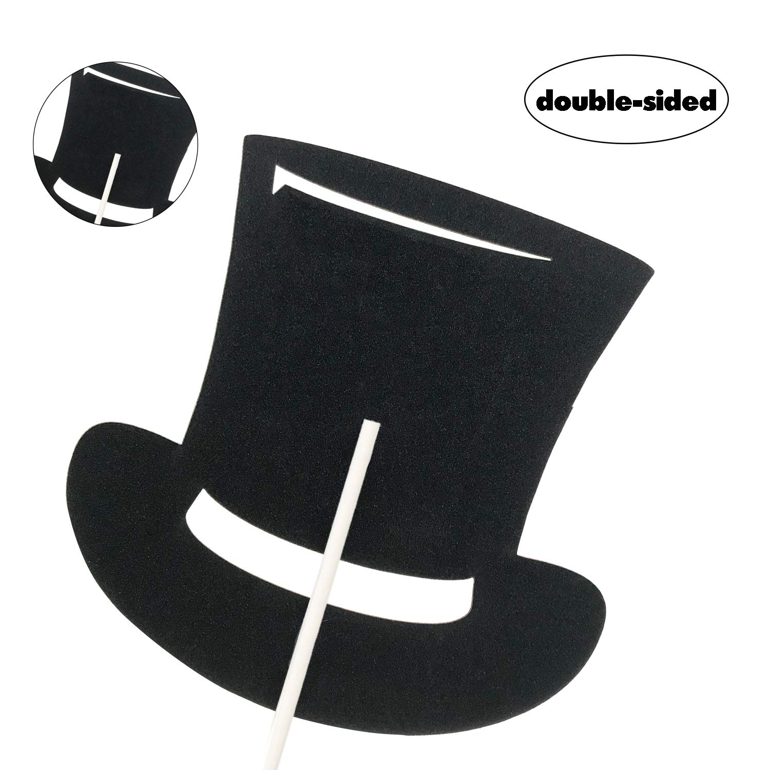 Top Hat Little Man Cake Topper for Baby Boy Birthday Baby Shower Gender Reveal Party Decorations Supplies-Black Double Side Glitter