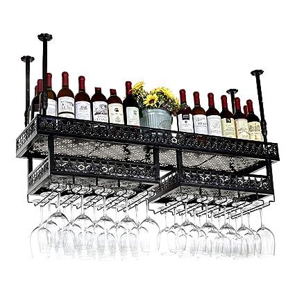 Wine Rack Wine Rack Soporte para Taza Doble Colgante Hierro Forjado Barbacoa de Bronce Negra Multi
