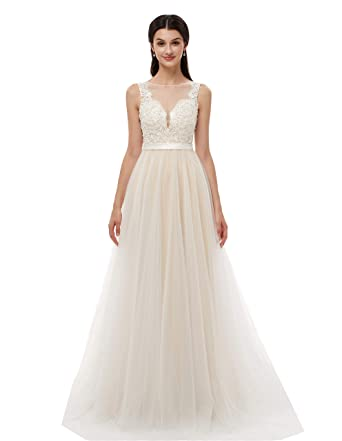 a0517d29c5711 Ikerenwedding Women s V-Neck A-line Lace Tulle Long Beach Wedding Dresses  for Bride