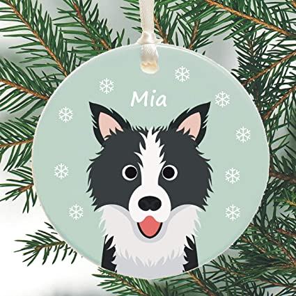 Dog Personalised Christmas Tree Decoration - Border Collie, Terrier - Cute  Holiday Xmas Bauble - Amazon.com: Dog Personalised Christmas Tree Decoration - Border