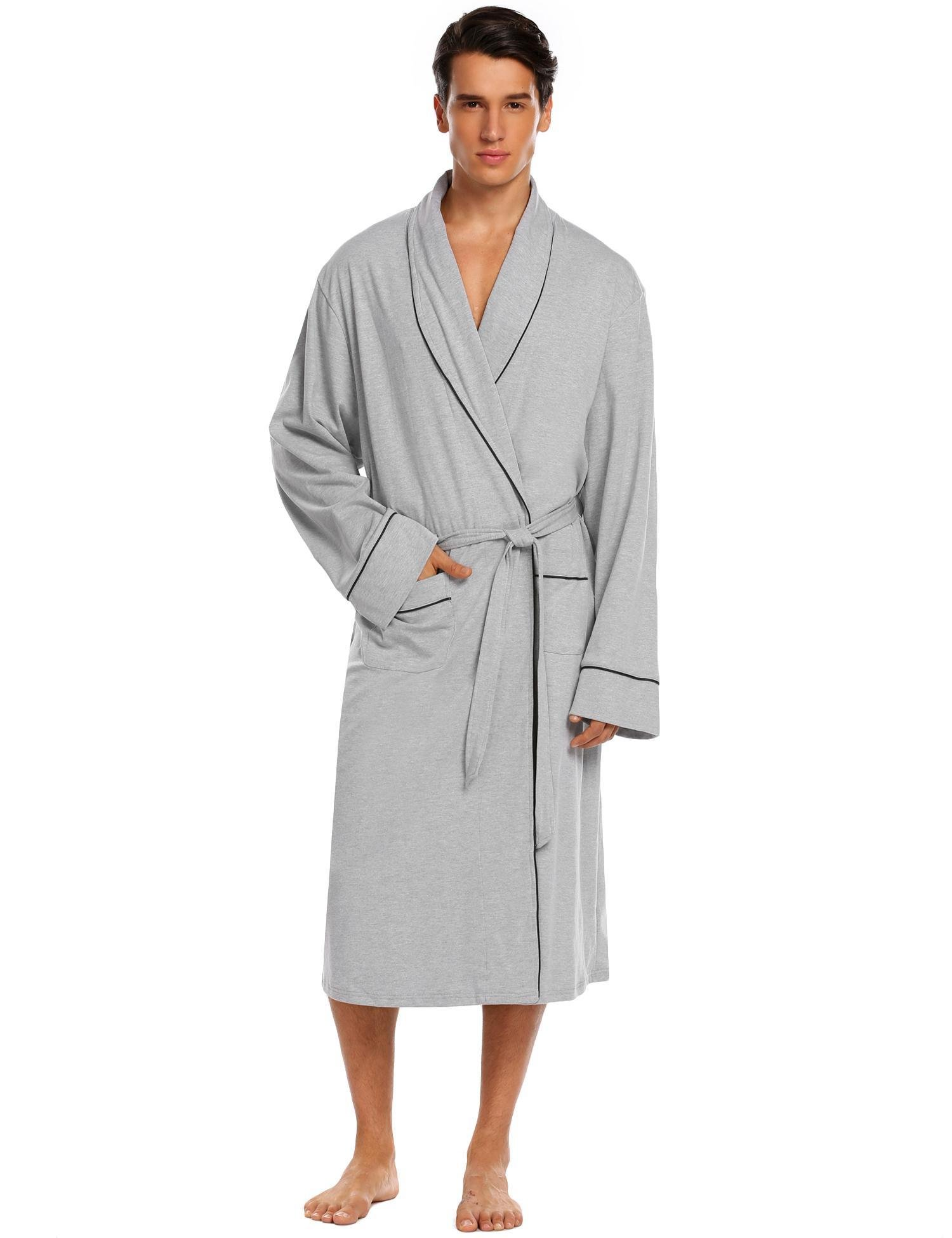 Donet Bathrobe Mens Cotton Spa Robes Lightweight Bath Robe Lounge Sleepwear