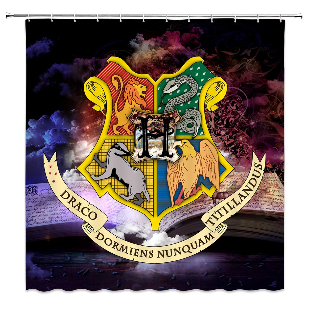 AMFD Harry Potter Shower Curtain Wizarding Hogwarts School Logo Fantasy Magic Book Bathroom Decor Polyester Fabric Waterproof Mildew Resistant Antibacterial 70 x 70 Inches Include Hooks Dark
