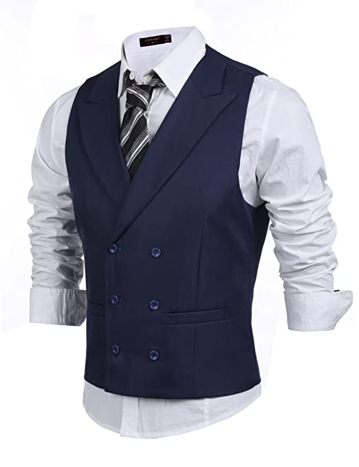 Retro Clothing for Men | Vintage Men's Fashion Coofandy Mens Double Breasted Suit VestSlim Fit Business Formal Dress Waistcoat $29.99 AT vintagedancer.com