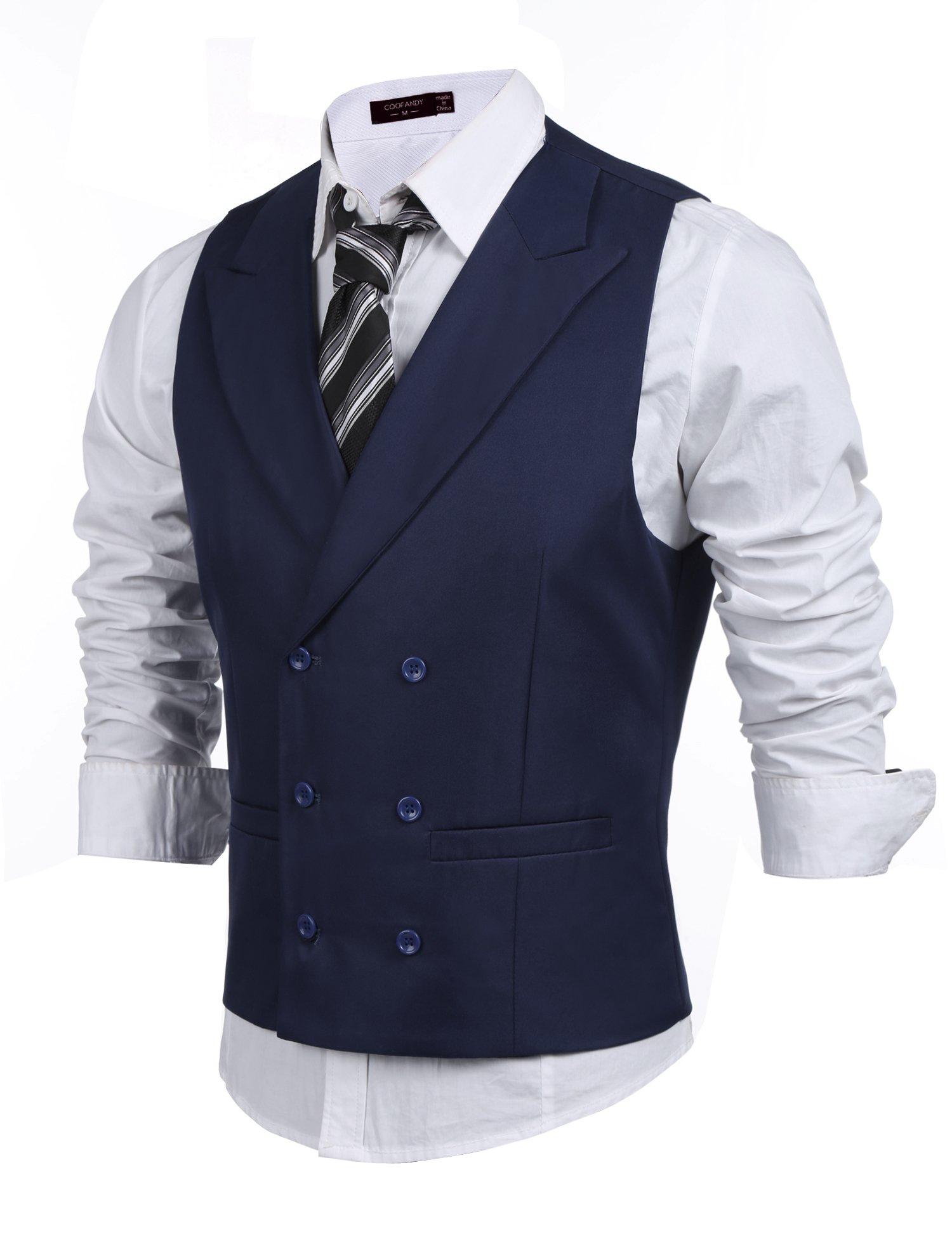 Coofandy Men's Double Breasted Suit Vest,Slim Fit Business Formal Dress Waistcoat (X-Large (US Large), Deep Blue)