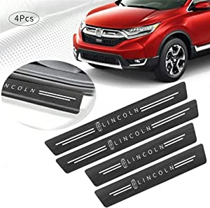 4Pcs/Set,Lincoln Car Door Sill Plate Protectors, Black Leather Threshold Protection Decoration Door Entry Guard Door Sill Scuff Plate for Lincoln(Black Lincoln)