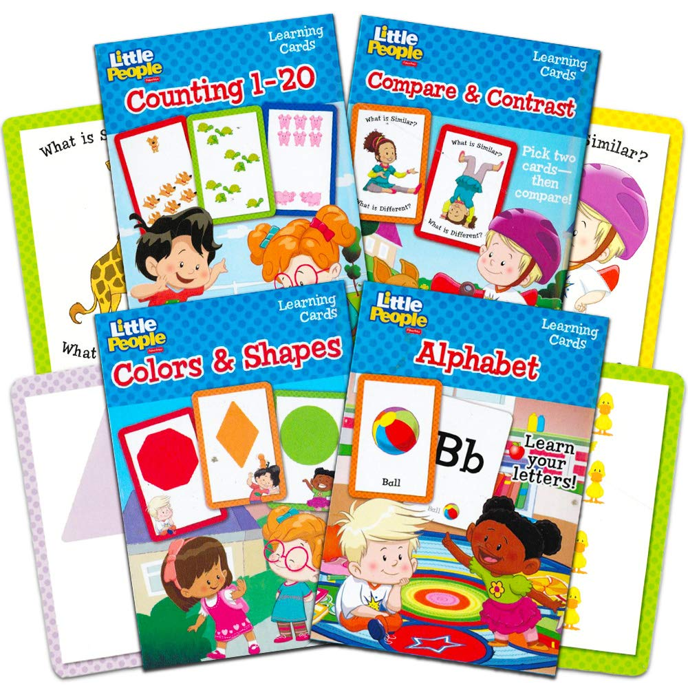 Fisher Price Flash Cards Super Set for Toddlers Kids 4 Packs ABC Flash Cards Numbers Flash Cards Colors and Shapes Compare and Contrast