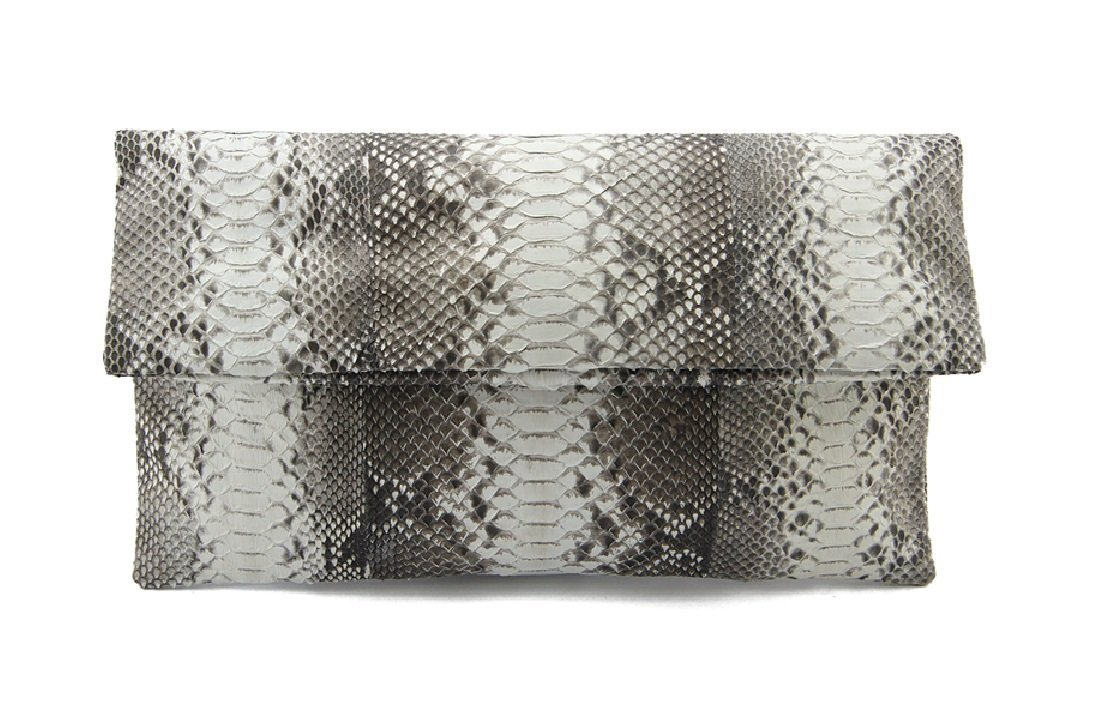 Genuine Natural Python Leather Classic Foldover Clutch Bag