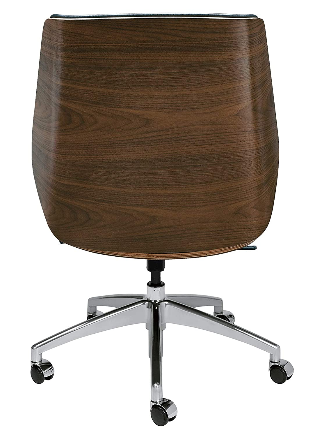 Astonishing Manhattan Mid Century Eames Style Office Chair With Vegan Leather And Wood Mid Back Black Interior Design Ideas Inesswwsoteloinfo