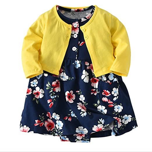 c0a3e4559 Amazon.com  JIANLANPTT Cute 2pcs Baby Girls Dress Set Floral Toddler ...