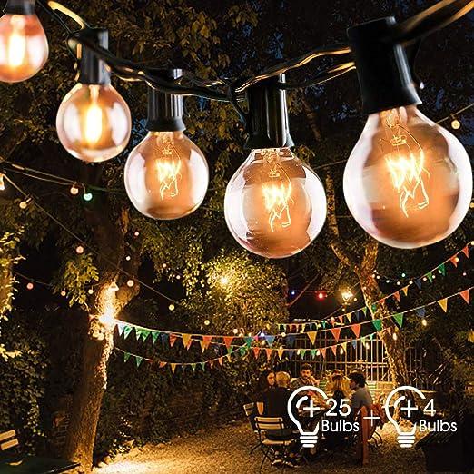 Cadena de Luces Fochea 9.5M Guirnalda Luminosa con 25 Bombillas G40 + 4 Bombilla de Repuesto, Lámpara de Ambiente para Decoración Interior y Exterior para Jardín Patio Dormitorio Fiesta Navidad Bodas: Amazon.es: Iluminación