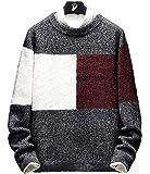 セーター メンズ 冬服 厚手 クルーネック カラーマッチング ニットセーター 暖かい 大きめ 防寒 カジュアル セーター 春秋冬