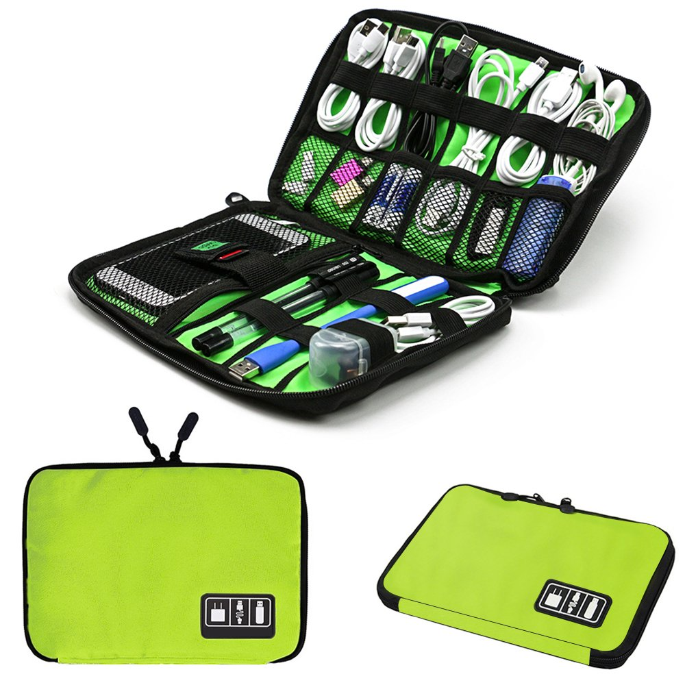 Universal Electronics Accessories Organizer, Travel Accessories Cable Cord Gadget Gear Storage bag,Electronics Travel Organizer Bag (M, Green)