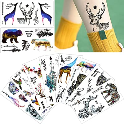 10 Sheets Colored Animal Decal Temporary Waterproof Tattoo Sticker for Body Makeup
