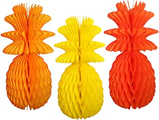 product image for Large Solid Colored 13 Inch Honeycomb Pineapple Party Decoration Kit (Yellow, Gold, Orange)