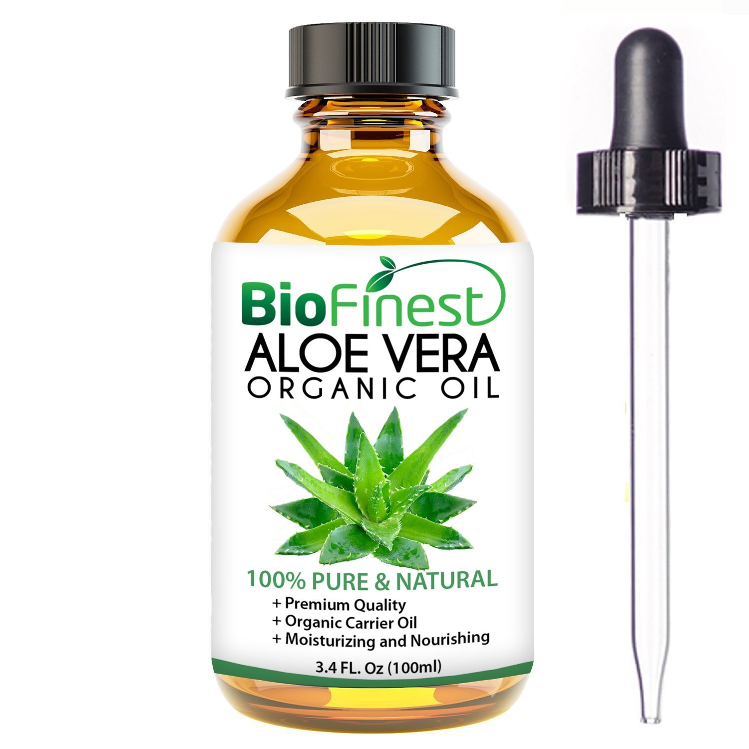 Biofinest Aloe Vera Organic Oil - 100% Pure, Natural, Cold-Pressed - Premium Quality - Best Moisturizer For Hair, Face & Skin - Boost Wound Recovery - FREE E-Book (10ml)