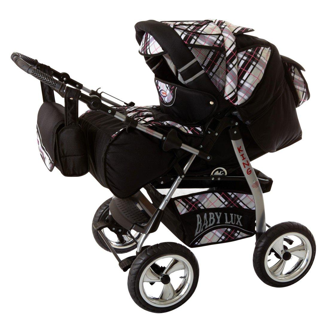 Lux4kids Trío Cochecito 3 in 1 Silla de paseo ruedas fijas + capazo + silla para coche VIP Hecho en Europa Accesorios opcionales iCaddy negro cósmico ...