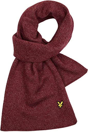 New Mens Lyle /& Scott Red Lambswool Scarf Scarves