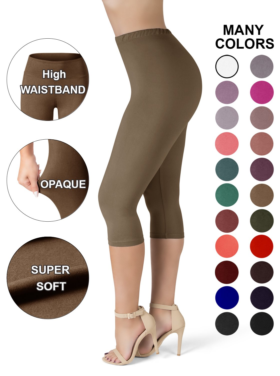 Sejora SATINA High Waisted Ultra Soft Capris Leggings - 20 Colors - Reg & Plus Size NCL-Parent