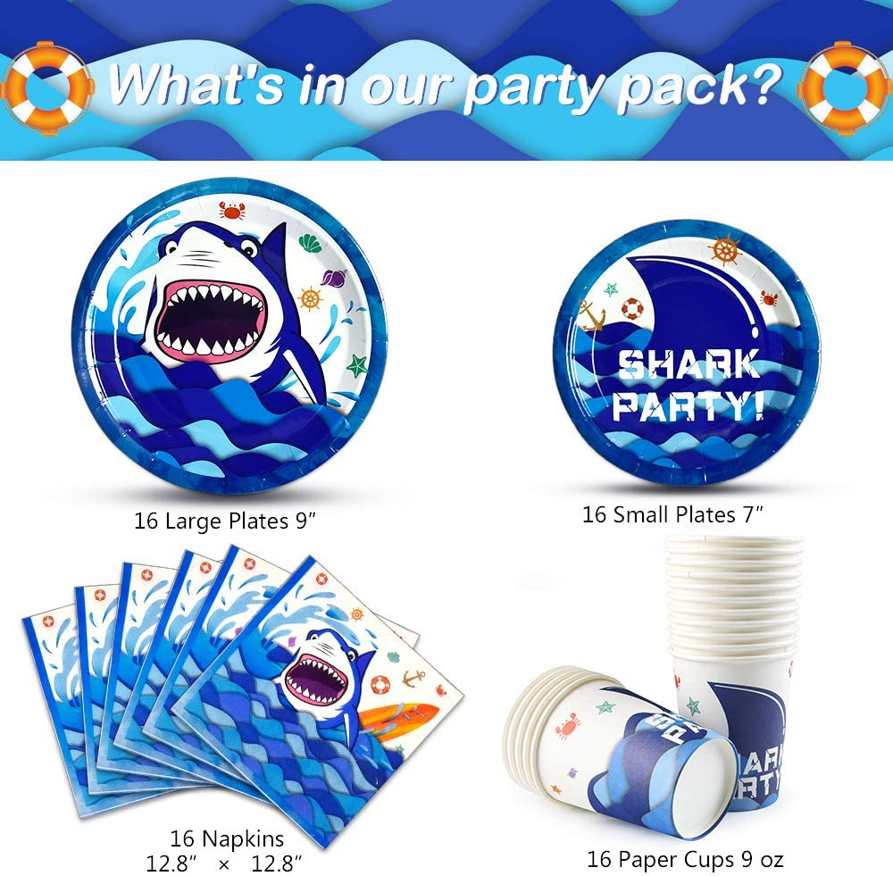 WERNNSAI Art/ículos para fiestas de Tiburones Bajo el Mar Vajilla de Fiesta Placas Servilletas Tazas Kit para Ni/ños Cumplea/ños de Fiesta en el Oc/éano Para 16 Personas 64PCS