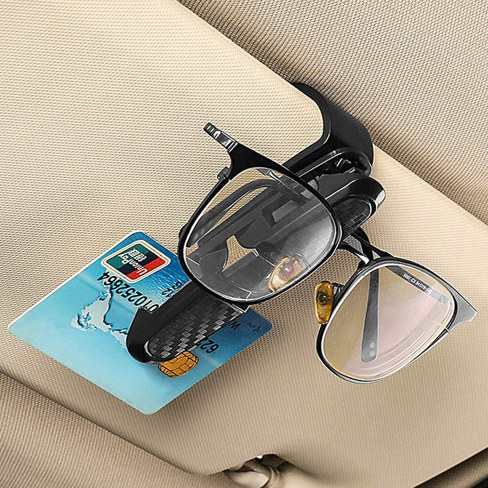 DEDC 2 pz Supporto Occhiali per Auto Visiera Parasole Porta Occhiali da Sole Clip a Doppia estremit/à Gancio di Occhiali per Auto a Rotazione 180/° con Clip per Biglietti da Visita ABS Nero