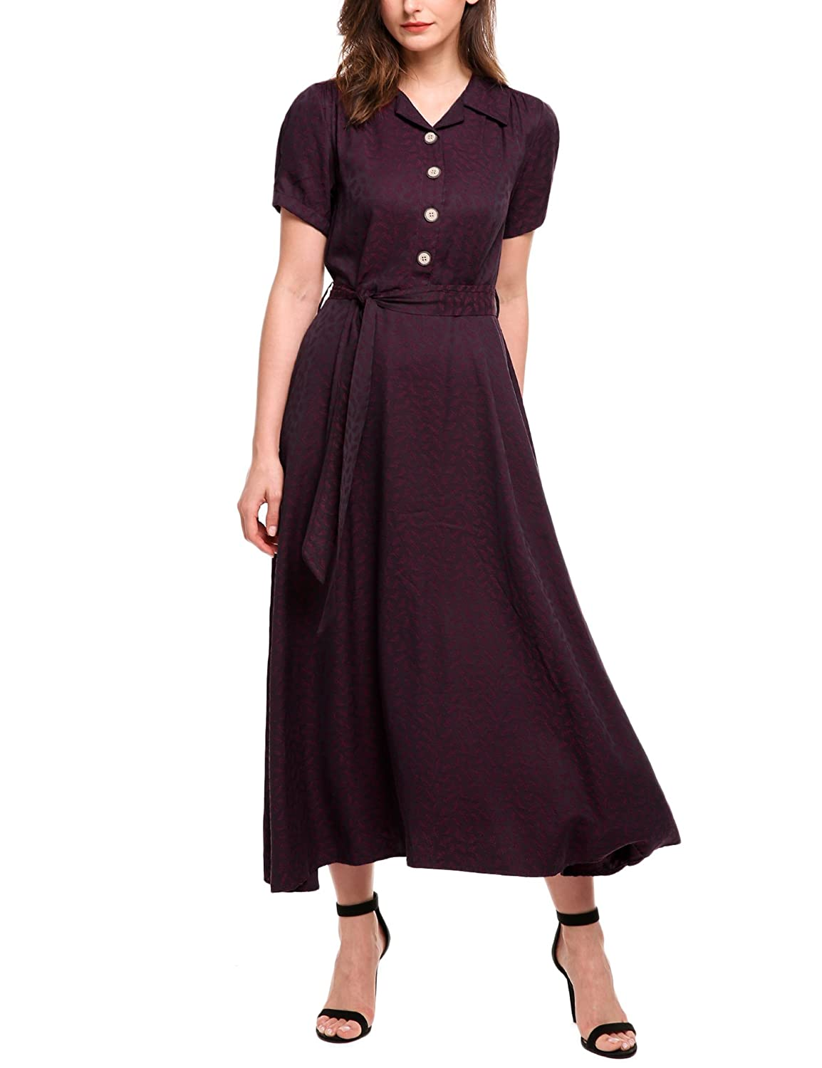 1940s Fashion Advice for Short Women ACEVOG Women Vintage Style Turn Down Collar Short Sleeve High Waist Maxi Swing Dress with Belt $38.99 AT vintagedancer.com