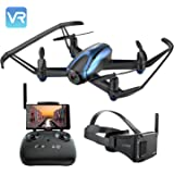 Potensic Drohne mit VR-Brille, Drohne mit Kamera RC Quadcopter 720 P HD Live-Video 5,8 GHz FPV 5-Zoll-Bildschirm-Monitor Headless-Modus und Höhe Hold-Funktion
