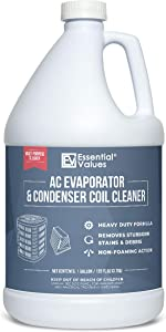 Essential Values Coil Cleaner (Gallon), Non-Foaming Formula for AC Evaporator & Condenser Coils - Heavy Duty Professional Grade Cleaner compatible with Commercial & Residential AC Units - Made in USA