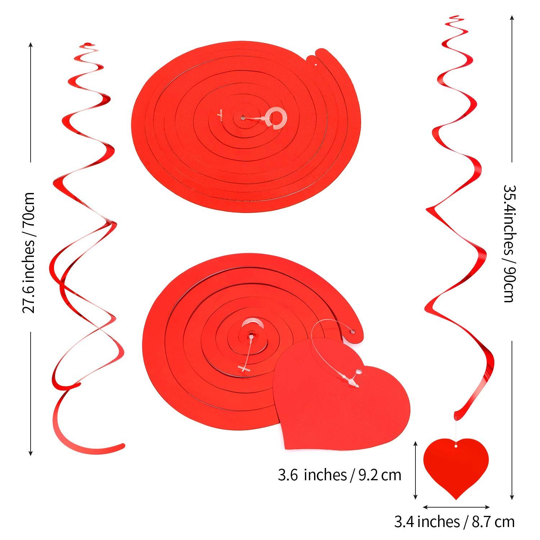 Despedida Soltera Cumplea/ños 30 Piezas de Remolinos Colgantes Coraz/ón Decoraciones Colgantes del Coraz/ón San Valent/ín Remolino Rojo Colgante de Doble Espiral para Suministros de Aniversario Boda
