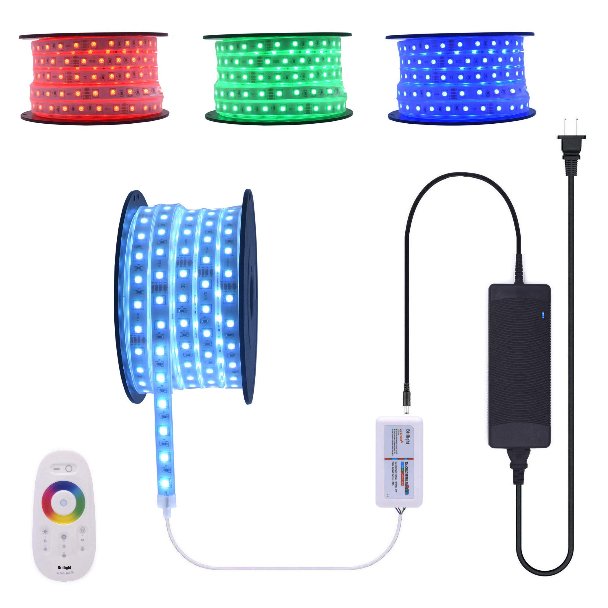 100 Ft 24V RGB LED Strip Light Super Bright Continuous Long Runs Waterproof Rope Light Kit with Wireless RF Touch Colors Changing Controller and Power Supply