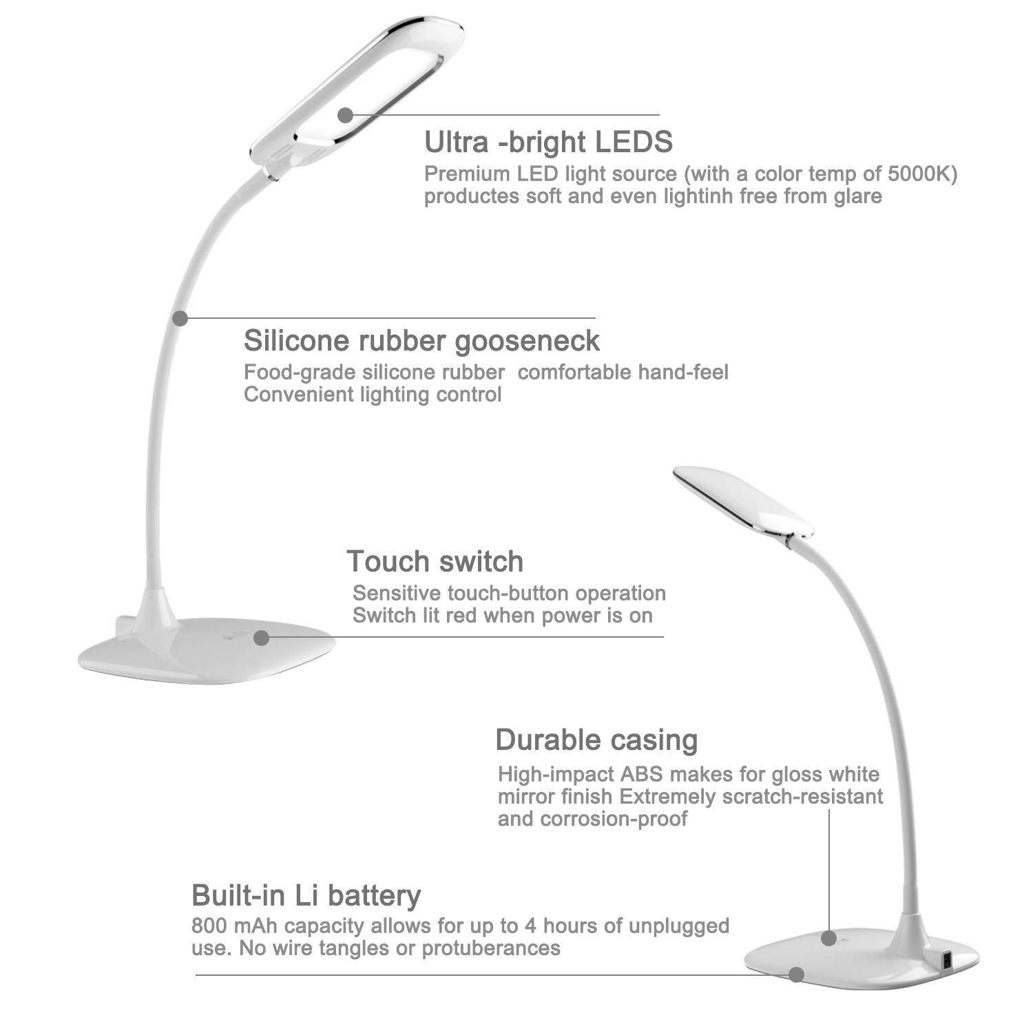 ShineMeUltra-thin Gooseneck LED Desk Lamp-Built-in Rechargeable ...