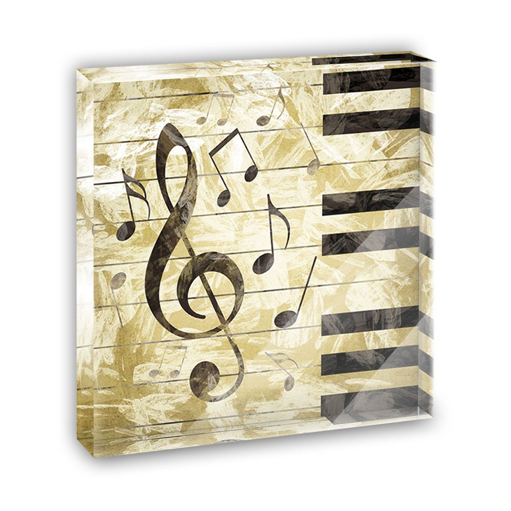 Vintage Piano with Treble Clef and Music Notes Acrylic Office Mini Desk Plaque Ornament Paperweight