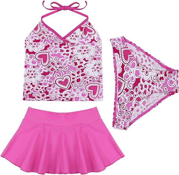 YOOJIA Kids Teens Girls Swim Dress One-Piece Stripe Swimsuit Sports Tank Top Skirt Bowknot Swimwear Age 7-16 Years