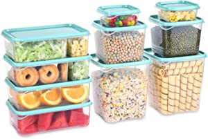 SHOMOTE 10 Pack Food Storage Containers with Lids Airtight, Stackable Kitchen Storage Containers for Food BPA Free, Plastic Lunch Containers, Microwave & Dishwasher Safe