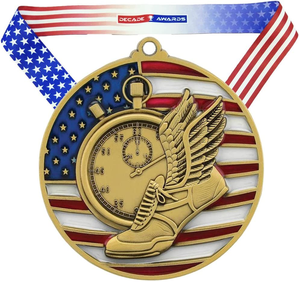 Decade Awards Track & Field Patriotic Medal – Gold, Silver, Bronze | Red, White, Blue Running Award Stars Stripes American Flag Neck Ribbon | 2.75 Inch Wide
