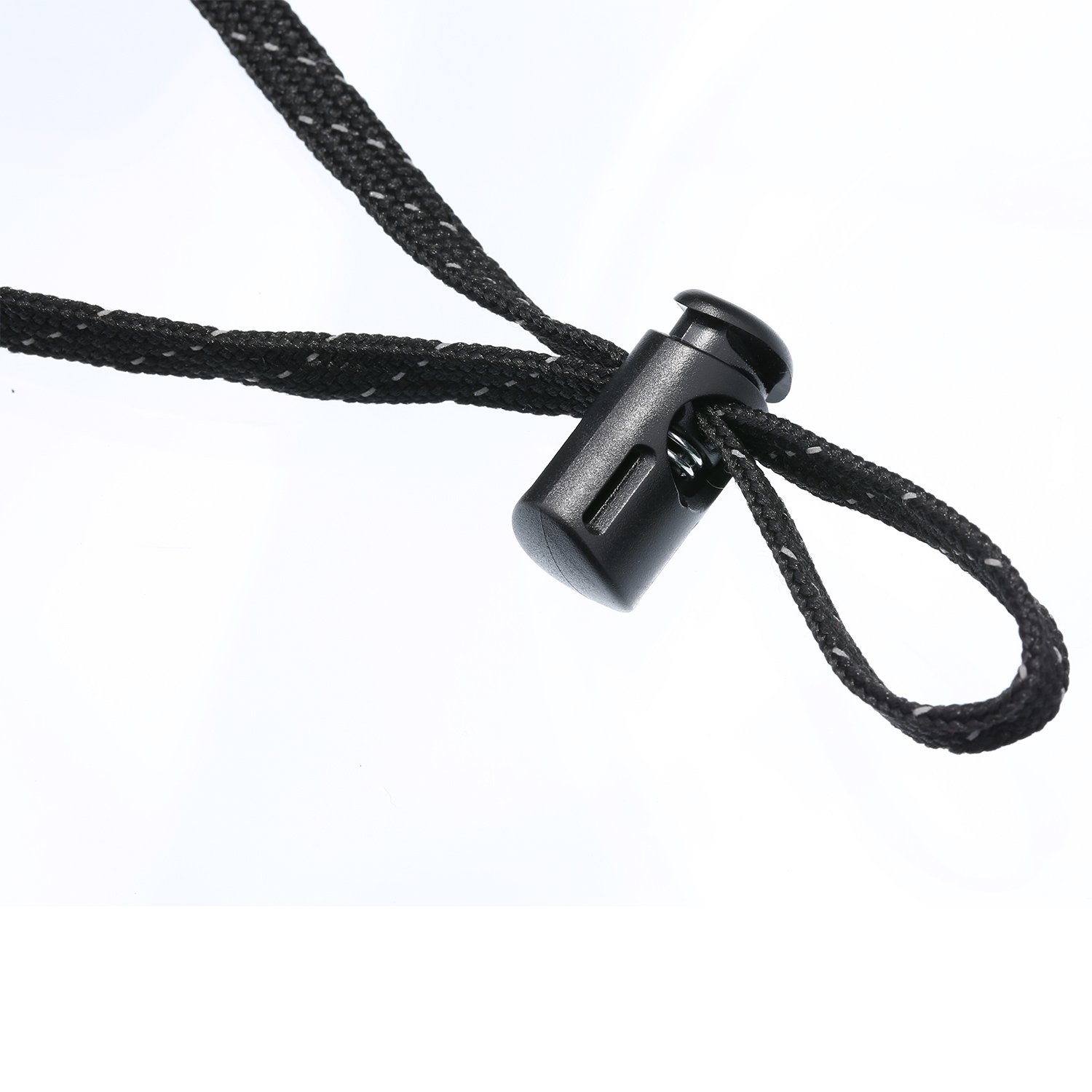 Black Hestya 50 Pack Plastic Cord Locks Spring Toggles Cord Stop Fasteners Single Hole Spring Loaded Buttons