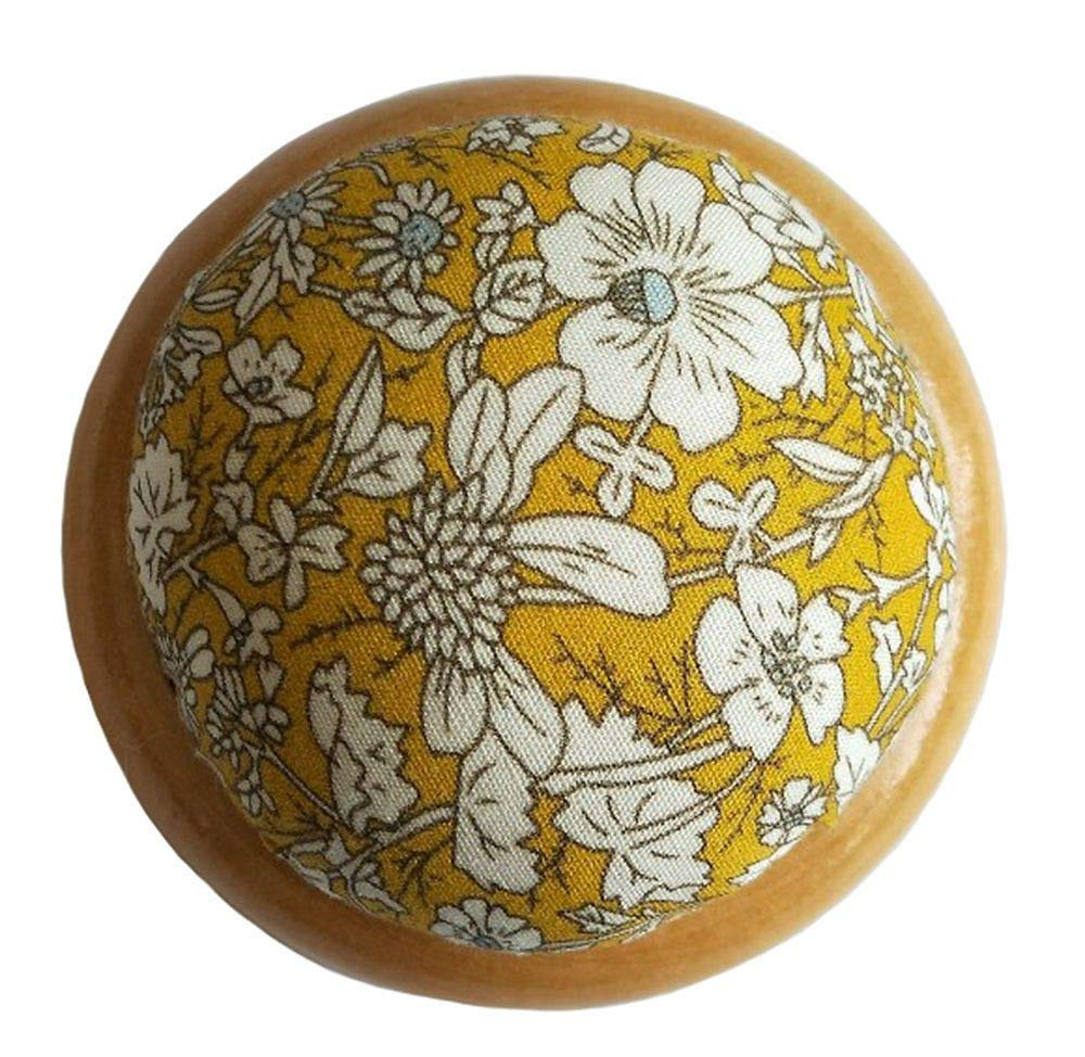 Black GAMESPFF Round Pin Cushion with Wooden Base and Printed Floral Fabric Coated for Daily Needlework