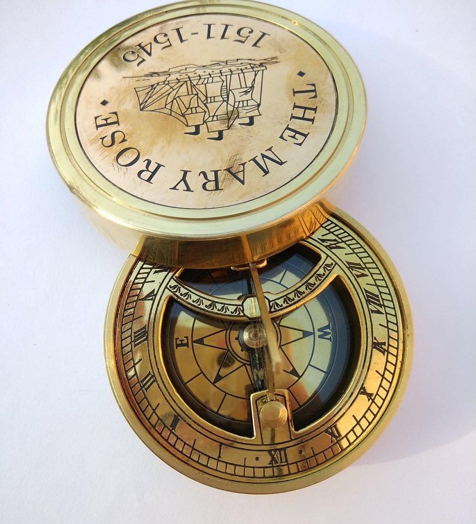 コンパスヴィンテージSundial by Eraコレクションハイキングcompass|gift compass|outdoor compass|engraved compass|primeアンティークNauticalソリッド真鍮古いスタイルのメアリーローズ1511 – 1545ナビゲーションMarine装飾ギフト B07CTJVNL6