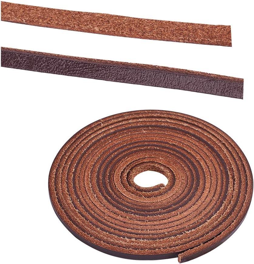 PandaHall Elite 1 hebra de 3 mm de Cuerda de Encaje de Cuero Trenzado Tiras de Cuero 2.2 Yardas para bisutería, Color marrón Claro