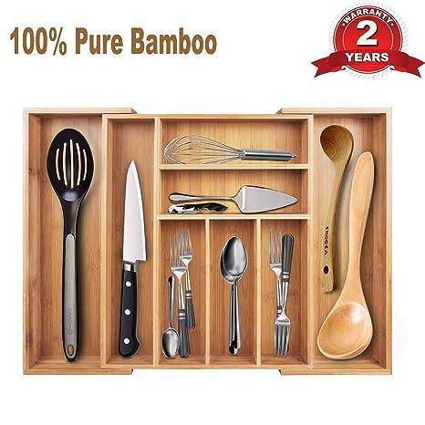 Cajón de almacenamiento de bambú expandible con 6 a 8 compartimentos, bandeja grande, apto