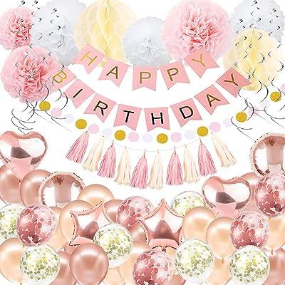 Decoraciones de cumpleaños Globo Banner - Oro rosa Decoración de feliz cumpleaños, Feliz cumpleaños Banner, 16th 18th 21st 30th 50th 60th Birthday Balloons Decoración de fiesta para mujeres niñas: Hogar
