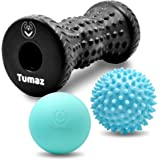 Tumaz Massage Ball & Foot Roller 3-in-1 Set with Spiky Ball, Lacrosse Ball, Massage Roller - Ergonomic Design to Relieve…