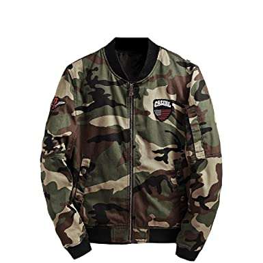ef466b46cd3f9 AngelSpace Men's Casual Camouflage Stand Collar Baseball Pea Coat Jacket 1 S